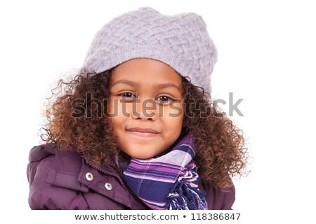asian · kind · meisje · glimlachend · winter · paars - stockfoto © lunamarina