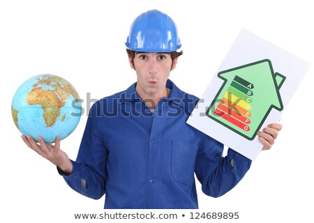 Elektricien wereldbol energie-efficiëntie teken bouw Stockfoto © photography33