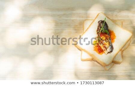 Makréla szendvics falatozó paradicsom majonéz hal Stock fotó © jarp17