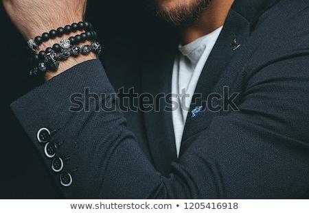 Karkötő kristály ezüst fekete doboz kő Stock fotó © saddako2