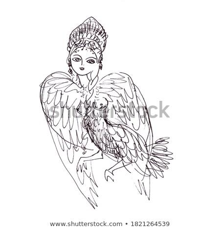 женщину · глазах · птица · красивая · женщина · зеленые · глаза · художественный - Сток-фото © elmiko