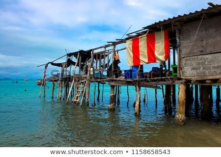Hut water muur home oceaan stoel Stockfoto © meinzahn