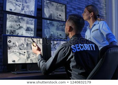 Stock fotó: Cctv · biztonság · biztonsági · kamera · kék · ég · égbolt · televízió