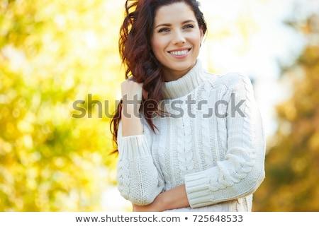 mooie · vrouw · muur · jonge · vrouw - stockfoto © nejron