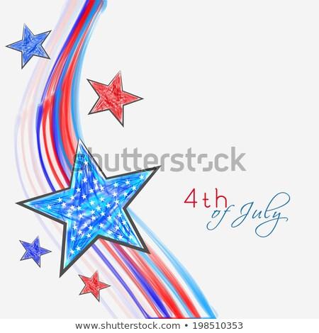 gyönyörű · amerikai · zászló · negyedike · elegáns · hullám · vektor - stock fotó © bharat