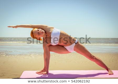 Kadın poz plaj güzel Asya kırmızı Stok fotoğraf © Witthaya