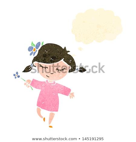 Cartoon vrouw dansen gedachte bel hand ontwerp Stockfoto © lineartestpilot