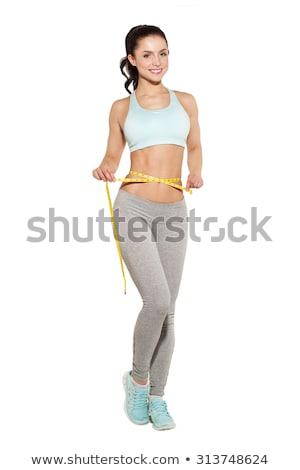 Fitnessz lány mér tökéletes gyönyörű derék Stock fotó © Photoline