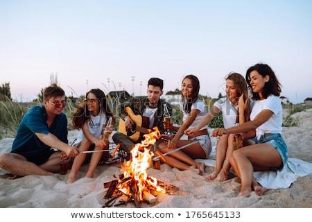 personas · hoguera · sentarse · noche · brillante · familia - foto stock © deandrobot