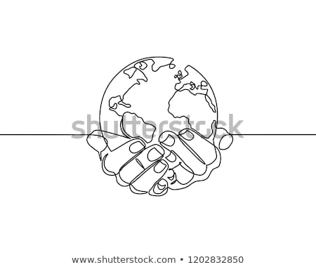 Mondo mondo mappa sfera imprenditore mano Foto d'archivio © lunamarina