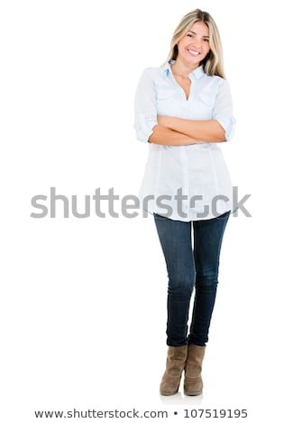 Happy cheerful content girl standing on white background Stock photo © deandrobot