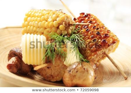 pörkölt · csemegekukorica · gombák · gomb · étel · tányér - stock fotó © Digifoodstock