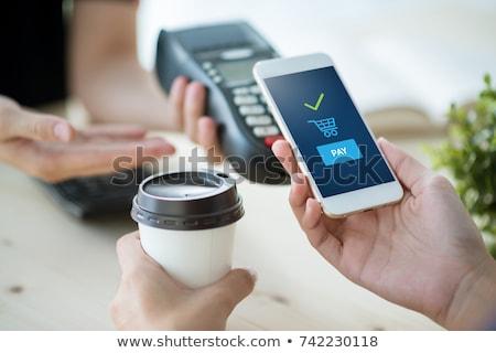 Móvel pagamento telefone móvel cartão de crédito vetor ícones Foto stock © djdarkflower