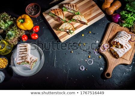 Spek kaas sandwich ontbijt vers Stockfoto © Digifoodstock