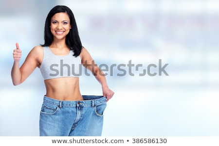 Femme grand pants abdomen rouge Photo stock © Kurhan