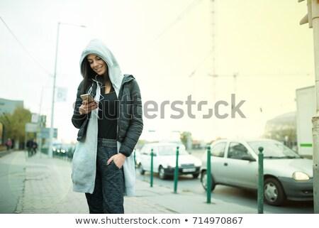 Stockfoto: Hip · hop · meisje · hoofdtelefoon · stedelijke · milieu · mooie
