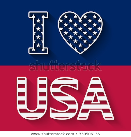 illustration of i love ny with american flag heart on white background Stock photo © get4net