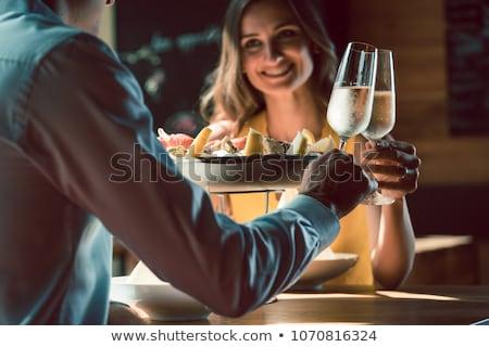 champagne · trouwring · ingesteld · binnenkant · glas · vragen - stockfoto © monkey_business