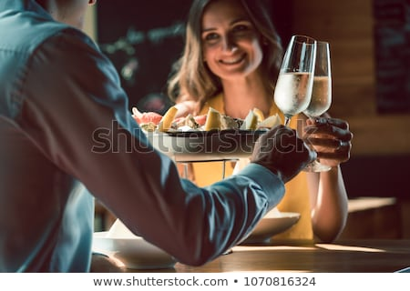 çift · şampanya · gülen · adam · mutlu - stok fotoğraf © monkey_business