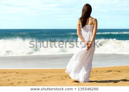 белое платье ходьбе пляж тропические красивой Сток-фото © chesterf