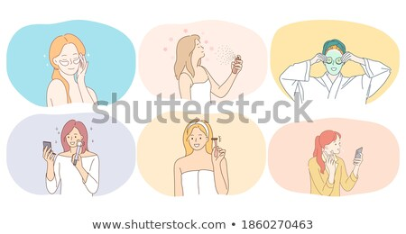 Stock photo: Smiling woman cleansing spray isolated