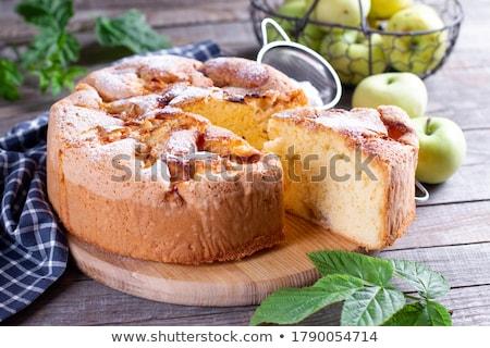 szelet · alma · piskóta · tányér · gyümölcs · edény - stock fotó © digifoodstock