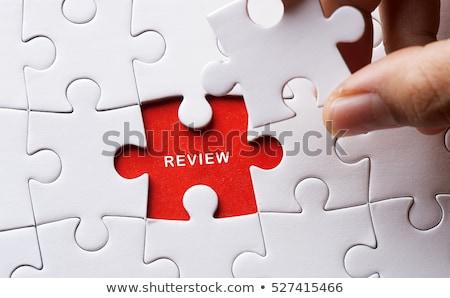 Vélemény piros puzzle fehér 3d render háttér Stock fotó © tashatuvango
