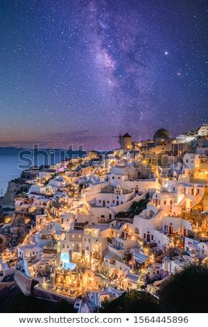 pueblo · puesta · de · sol · santorini · isla · Grecia · casa - foto stock © vwalakte