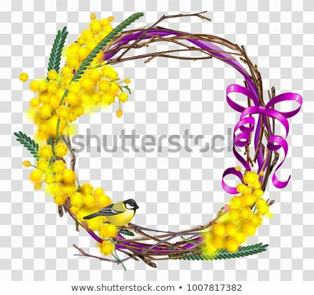 Yellow mimosa flower branch with wreath with red ribbon bow. Bird tit symbol of spring Stock photo © orensila