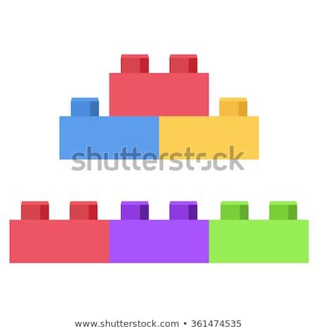 Plastic bouwstenen gebouw groene Blauw kleur Stockfoto © nenovbrothers