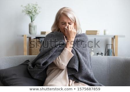Kobieta tkanka papieru portret różowy uśmiechnięty Zdjęcia stock © IS2