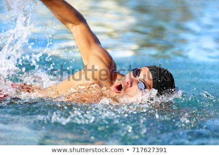 Homem óculos de proteção piscina verão diversão Foto stock © IS2