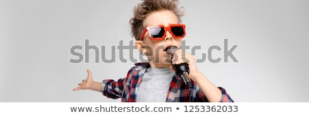 A handsome boy in a plaid shirt, gray shirt and jeans stands on a gray background. A boy in red sung Stock photo © Traimak