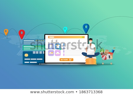 rating on customer service illustration man sitting at the table and holding his tablet with five s stock photo © makyzz
