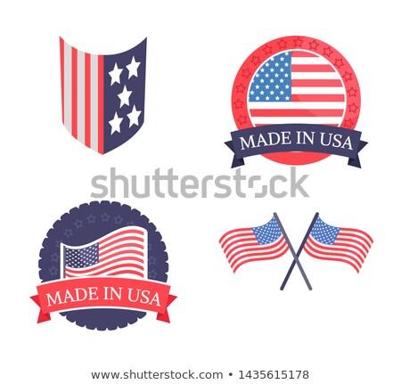 Amerikai zászló nap promóciós matricák szett hazafias Stock fotó © robuart