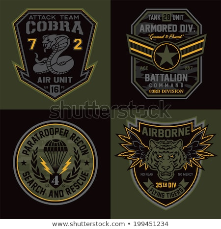 Militaire emblème design guerre star vêtements Photo stock © popaukropa