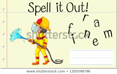 Spell English word fireman Stock photo © bluering