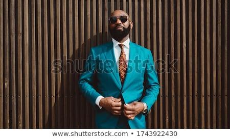 Foto stock: Retrato · moda · africano · americano · homem · óculos · de · sol