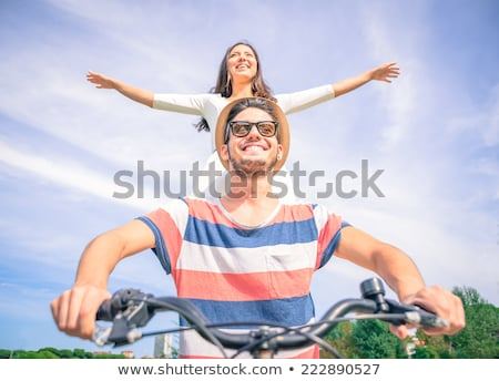 young couple in love ride on bicycles in the mountains Stock photo © ruslanshramko