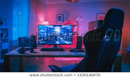 Computerspel illustratie scène westerse zonsondergang paard Stockfoto © colematt