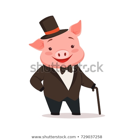 Cartoon varken smoking illustratie De ober glimlachend Stockfoto © cthoman