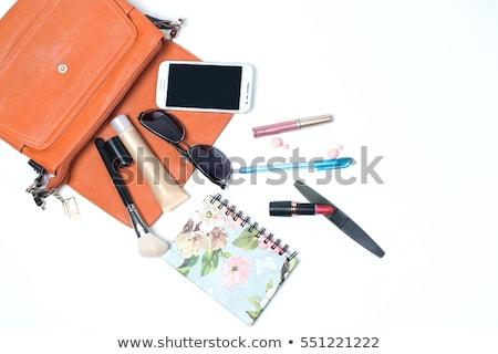 Contenido femenino bolso establecer blanco Foto stock © studiostoks