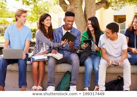 Escola secundária estudante menina leitura livro ao ar livre Foto stock © dolgachov
