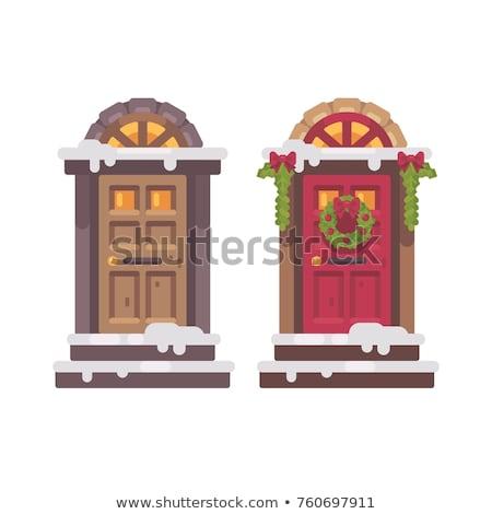 два зима дверей Рождества украшенный крыльцо Сток-фото © IvanDubovik