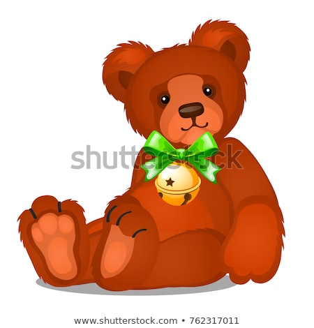 Soft toy teddy bear with jingle bells with green ribbon bow isolated on white background. Sketch of  Stock photo © Lady-Luck