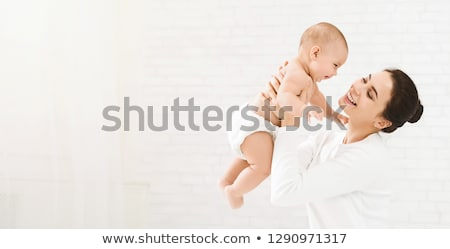 Stockfoto: Moeder · baby · kind · witte · bed · familie