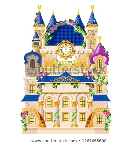 Fairytale castle festively decorated with flowers and golden watch isolated on white background. Vec Stock photo © Lady-Luck