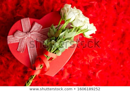 Heart shaped boxed gift, placed on red feathers background Stock photo © dash