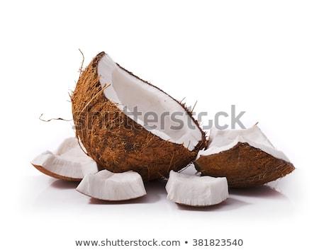 coconut icon broken coconut isolated in white stock photo © marysan