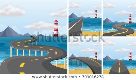 Five scenes of road across the ocean Stock photo © colematt